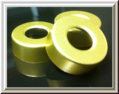 pre-hole punched gold vial seals